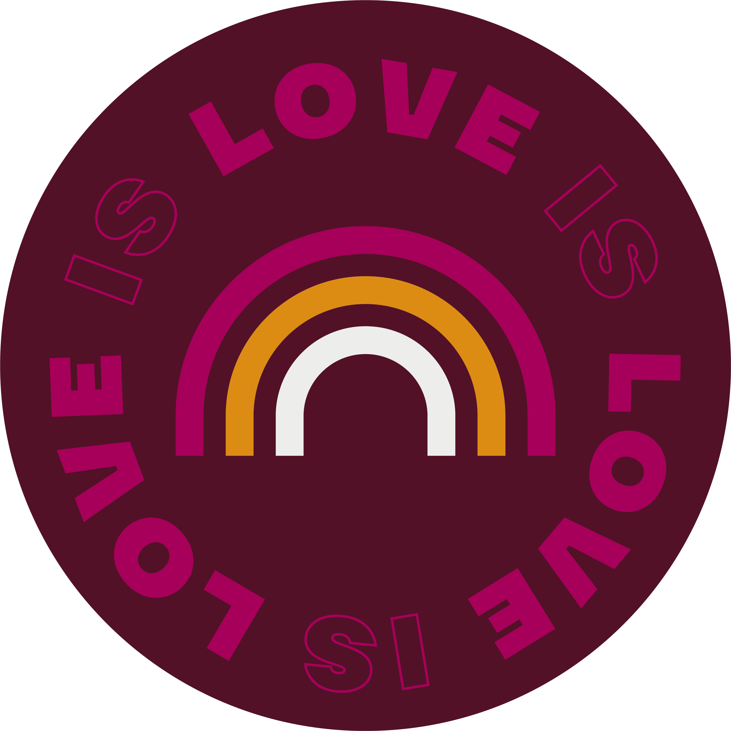 """Round sticker with a rainbow icon, saying """"Love is Love""""."""