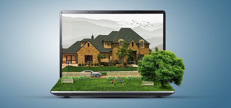 Image of a house on a computer screen