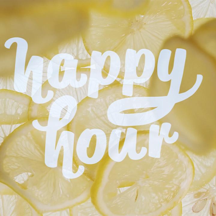 Lemons fallings with the logo happy hour ontop