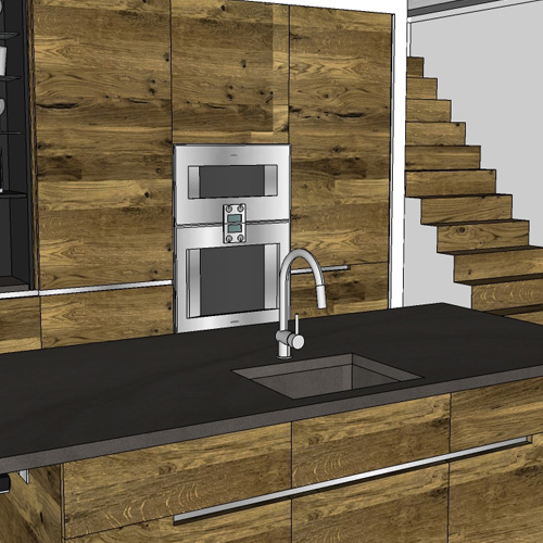 3D CAD drawing of in-situ kitchen cabinetry design, image.