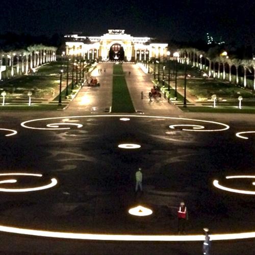 Zabeel Palace helipad and driveway illuminated with LED lights marked out with Flexijet 3D, thumbnail image.