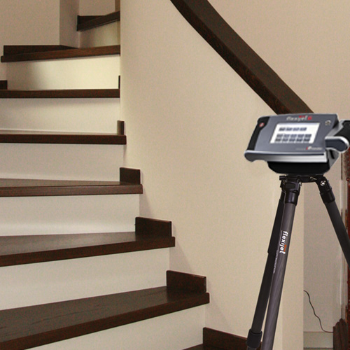 Residential staircase with ponytail railing ready for Flexijet 3D site measure, thumbnail image.