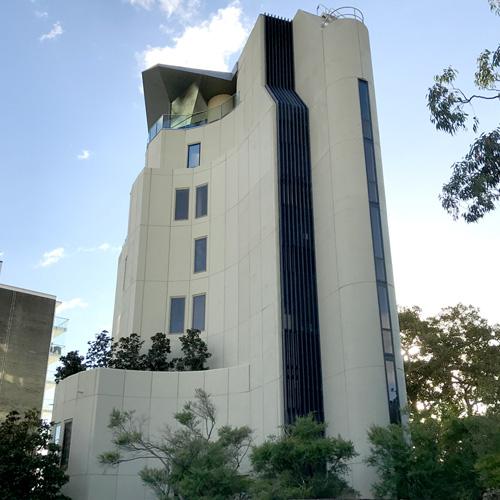 External view of one of distinctive buildings in Elizabeth Bay Road, thumbnail image.