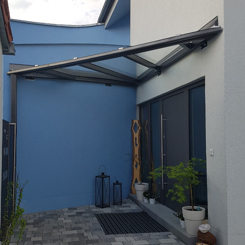 Steel and glass canopy installed in residential premises with construction measurements performed with Flexijet 3D Laser Measuring System, thumbnail image.