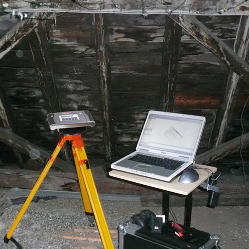 A fire damaged roof truss with Flexijet 3D measuring the surviving trusses, thumbnail image.