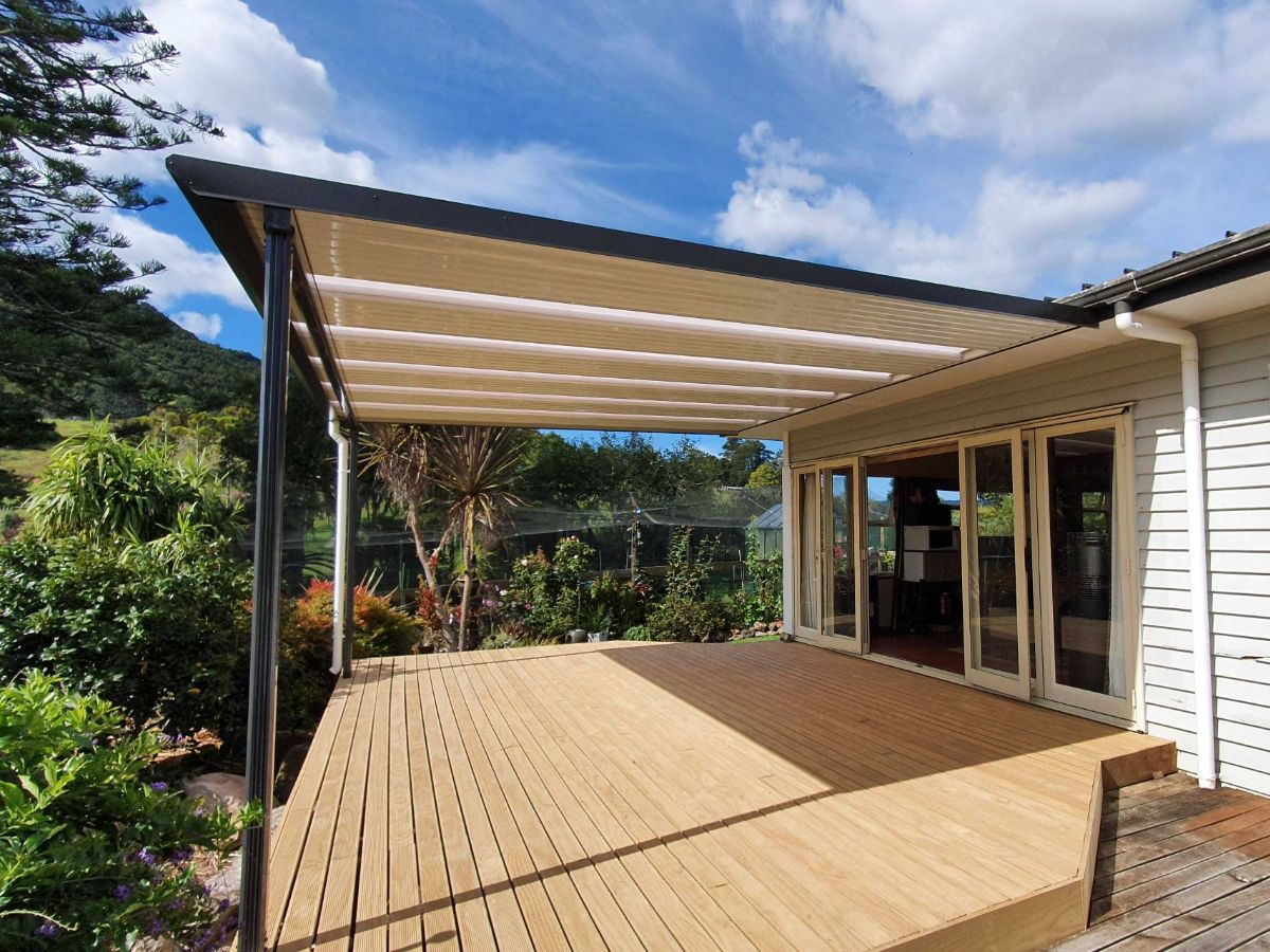 Deck made usable by covering with flat roof