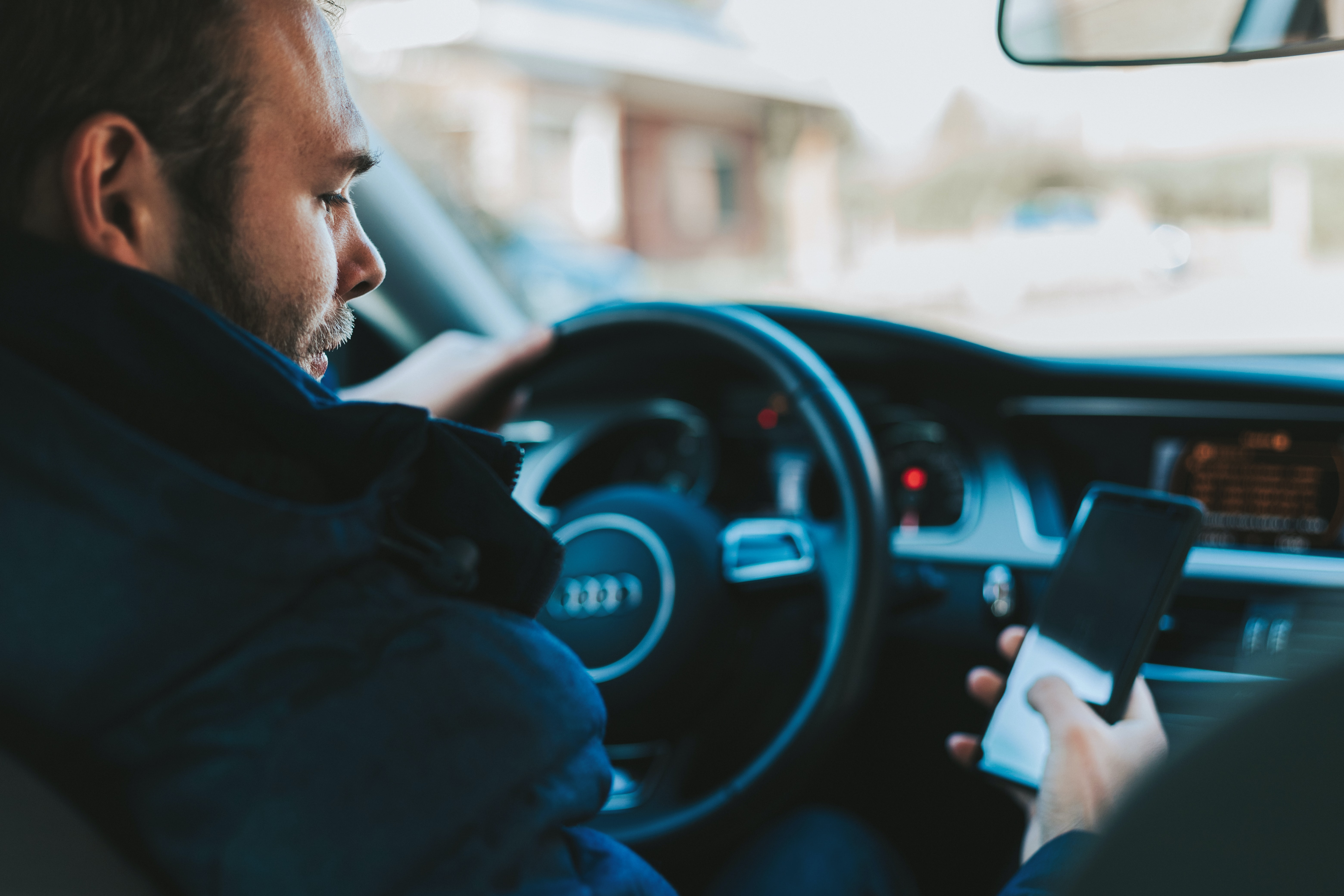 Driver distracted by phone