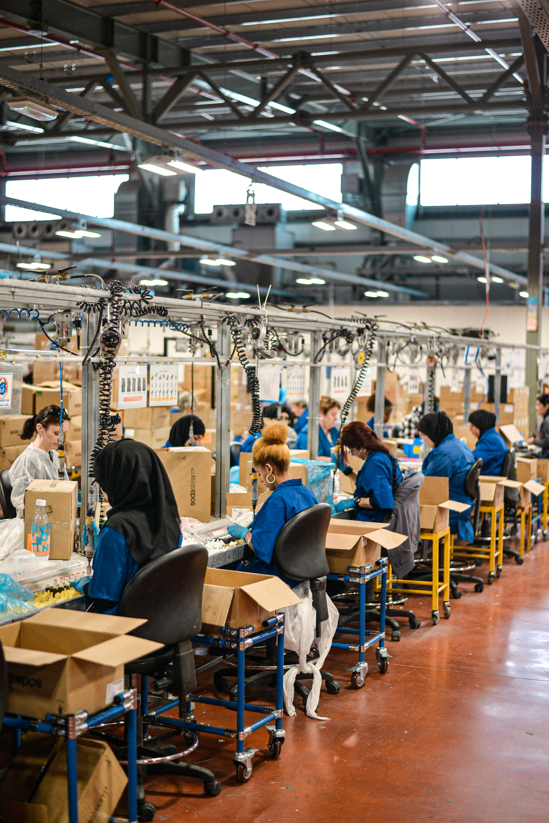 People working in a production line