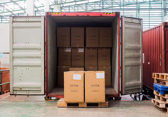 Cargo inside a truck trailer