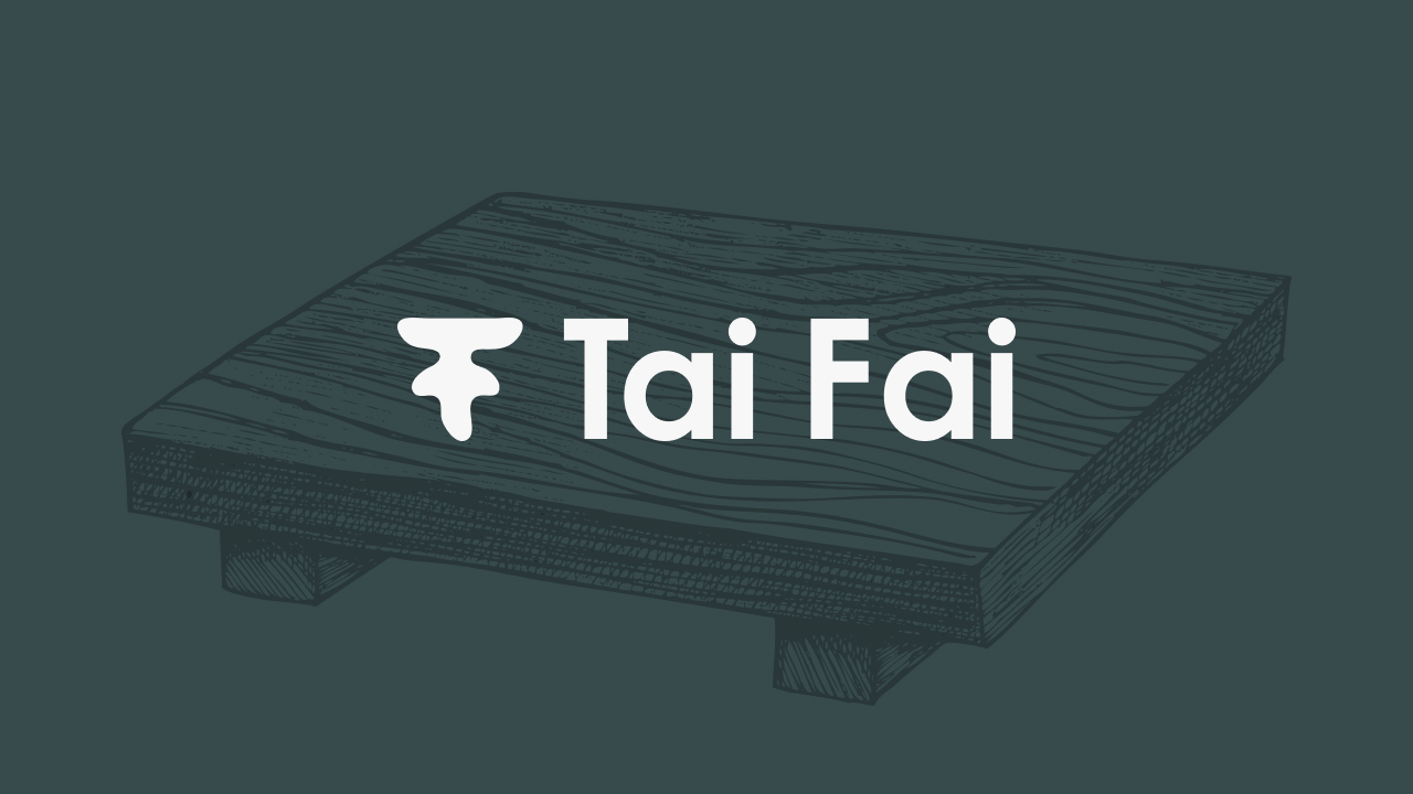 New Tai Fai logo with branded background illustration.