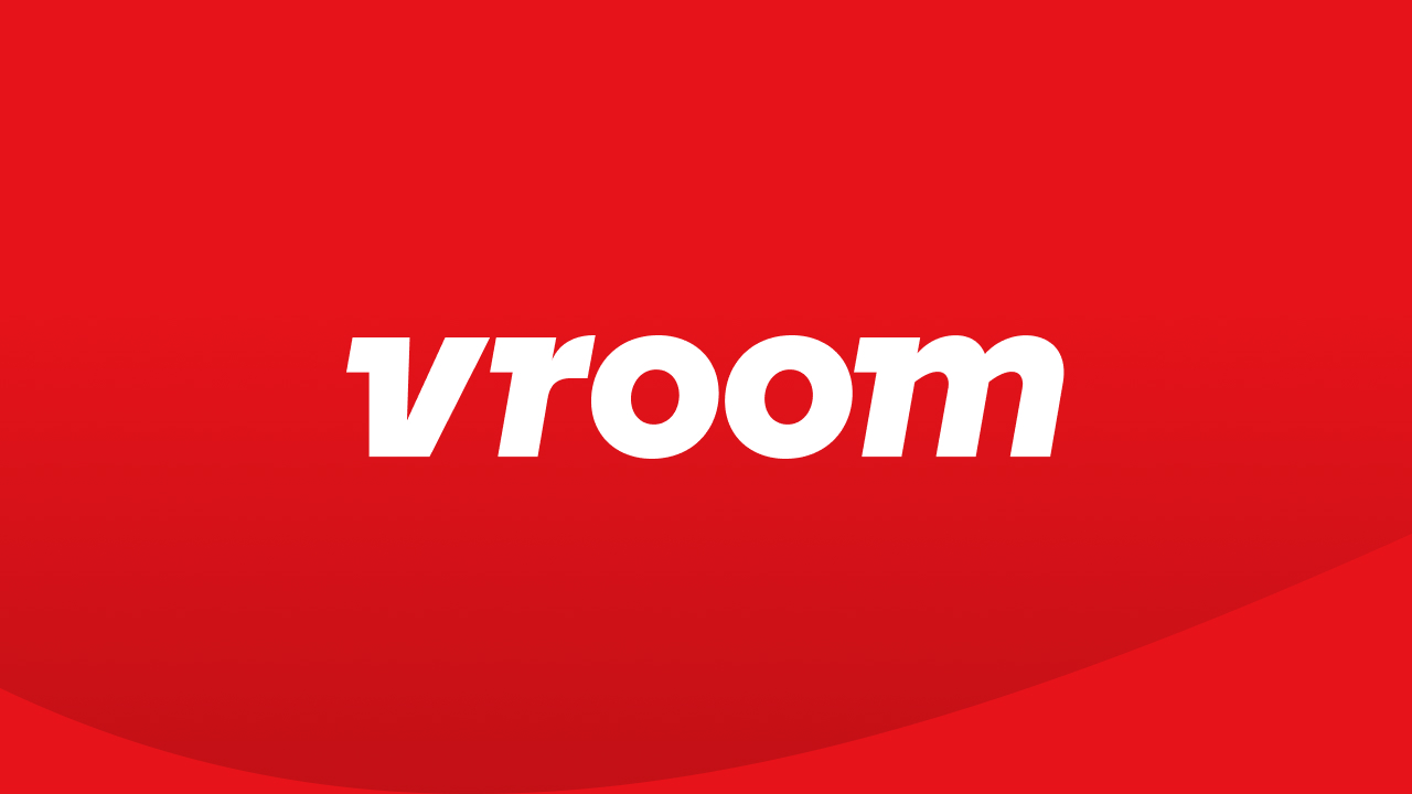 Vroom's logo with branded red background.