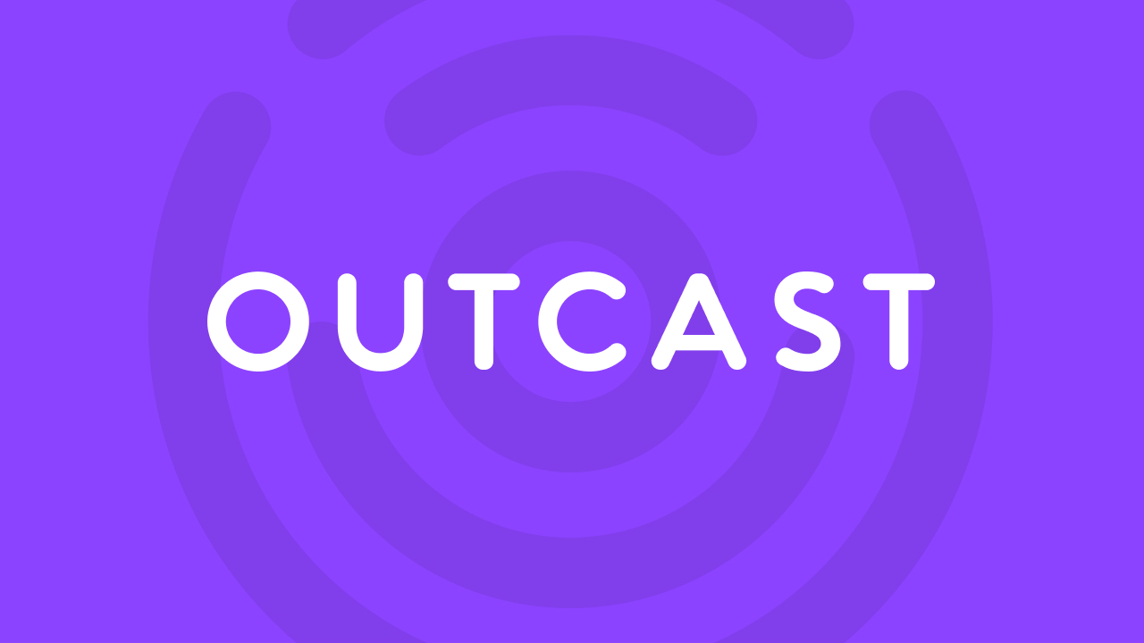 New Outcast app logo with branded background.