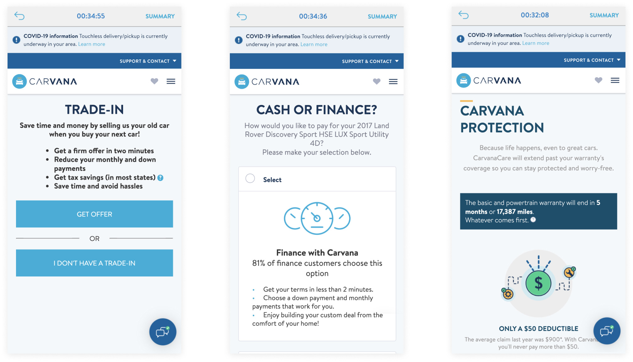 Screenshots of Carvana's mobile checkout experience.