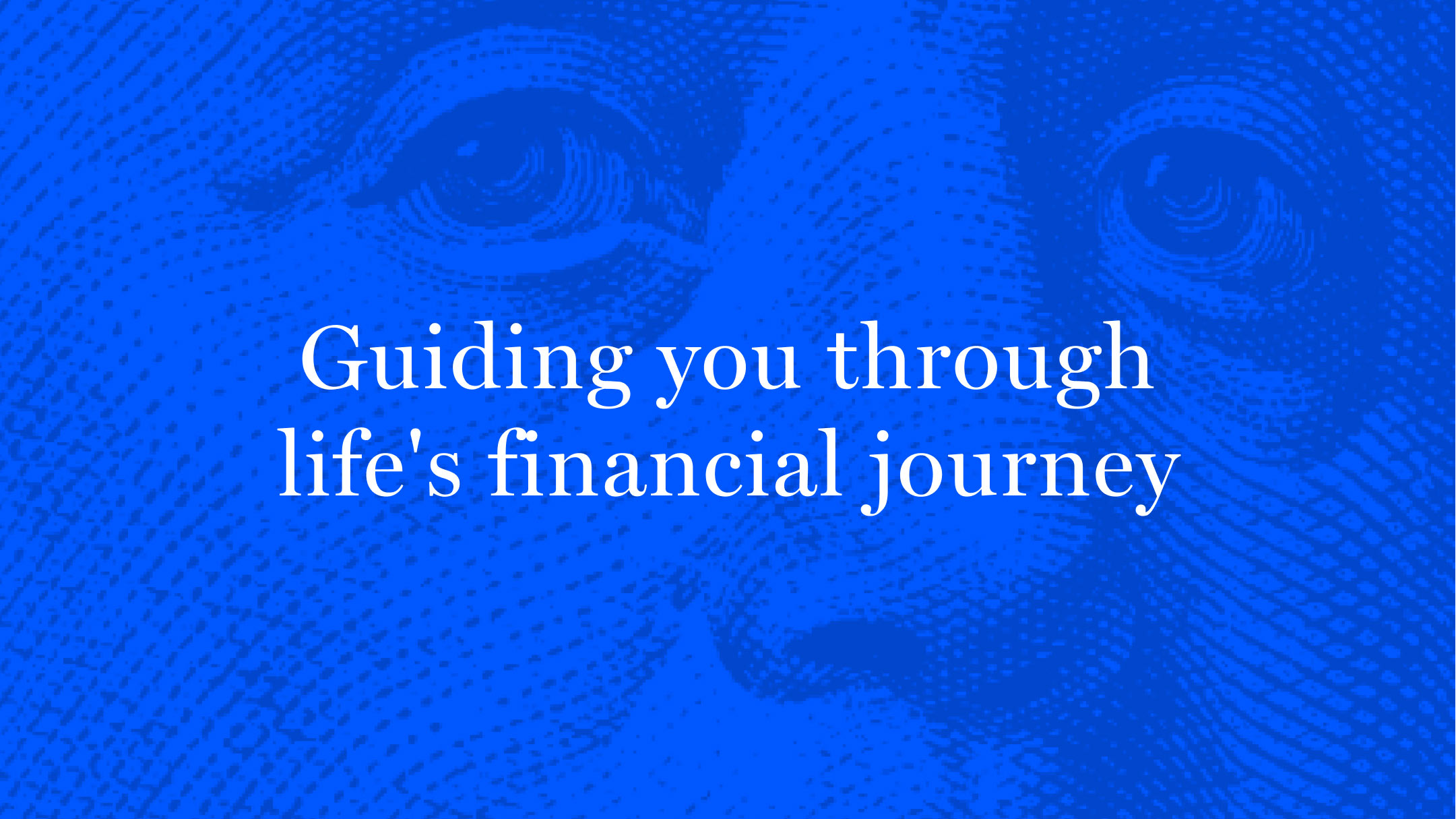 """Bankrate's main tagline, """"Guiding you through life's financial journey"""" with a close up overlay of a Benjamin Franklin illustration."""
