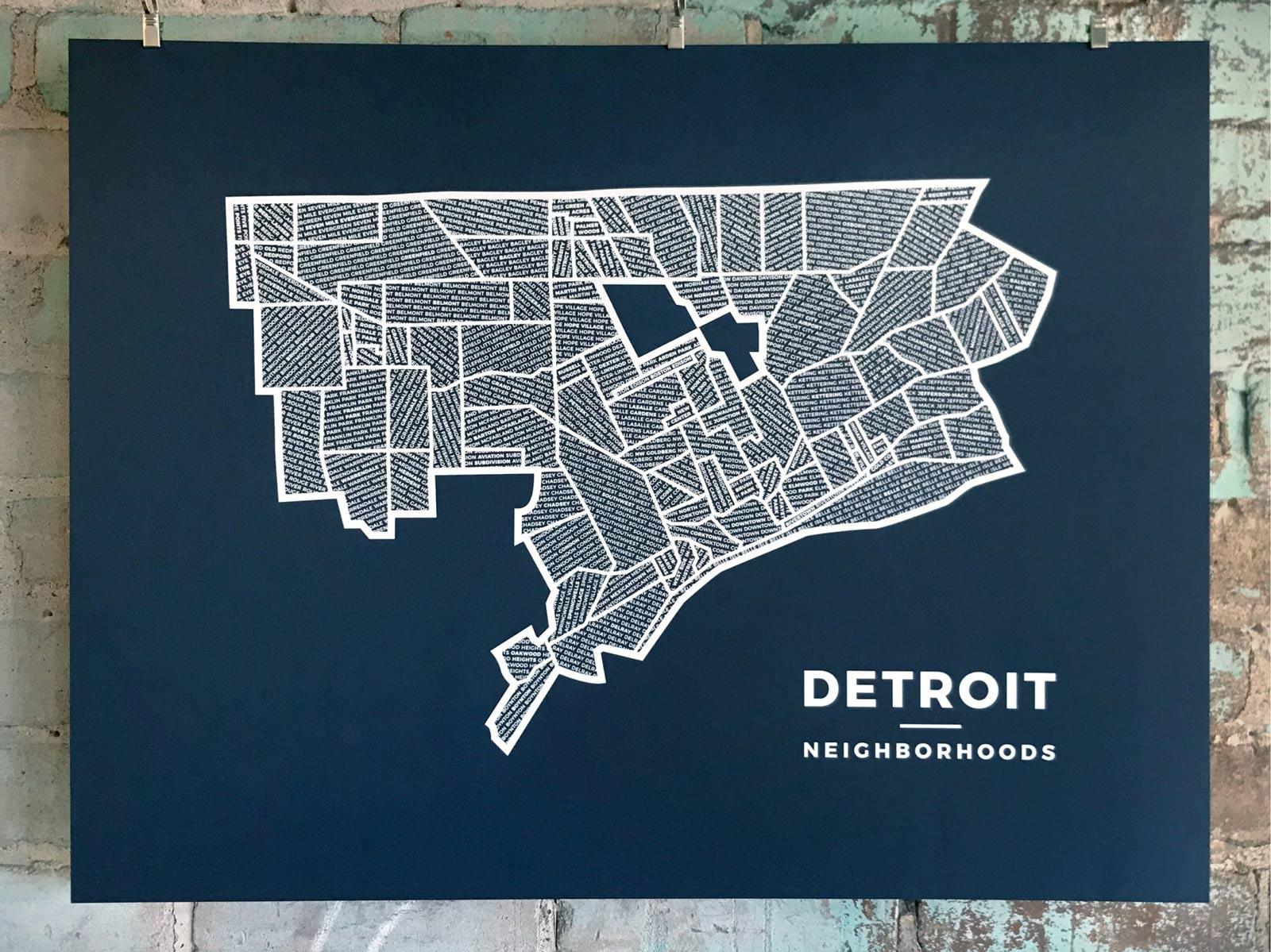 My Detroit neighborhoods map print hanging up at Signal Return.