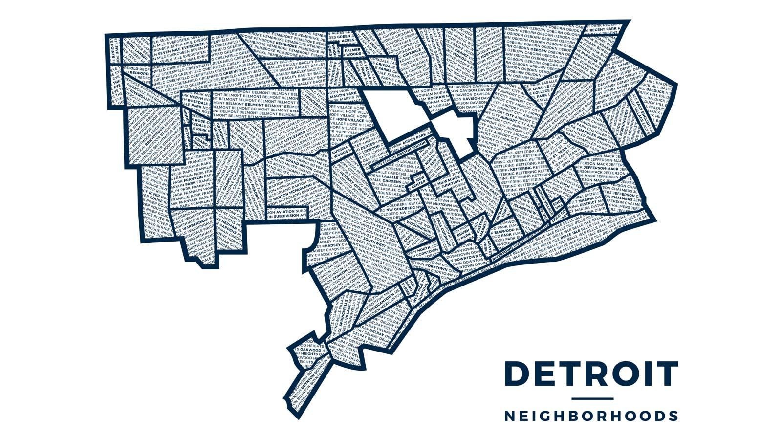 My newly designed Detroit neighborhoods map.