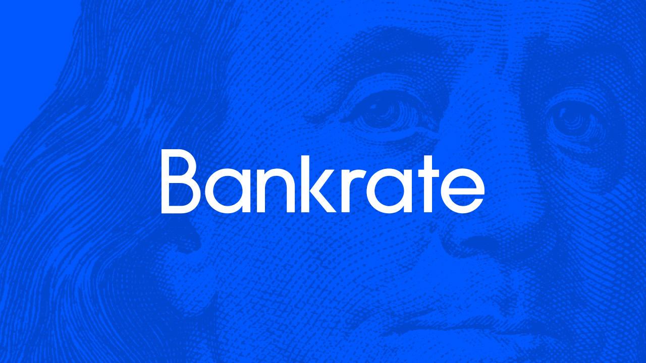 New Bankrate logo with branded background illustration of Benjamin Franklin.
