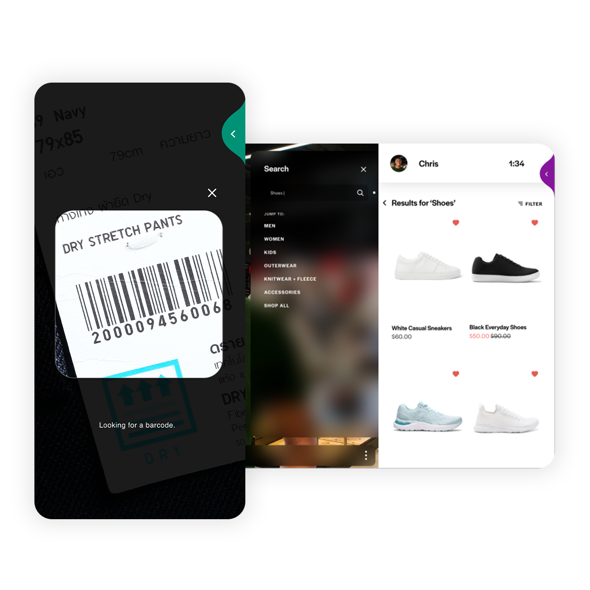 Image of a mobile app scanning a barcode and pulling up the item on an online store.