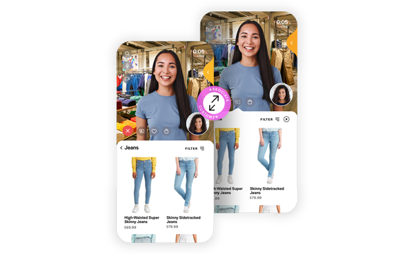 Mobile app showing live retail associate along with viewing an online store.