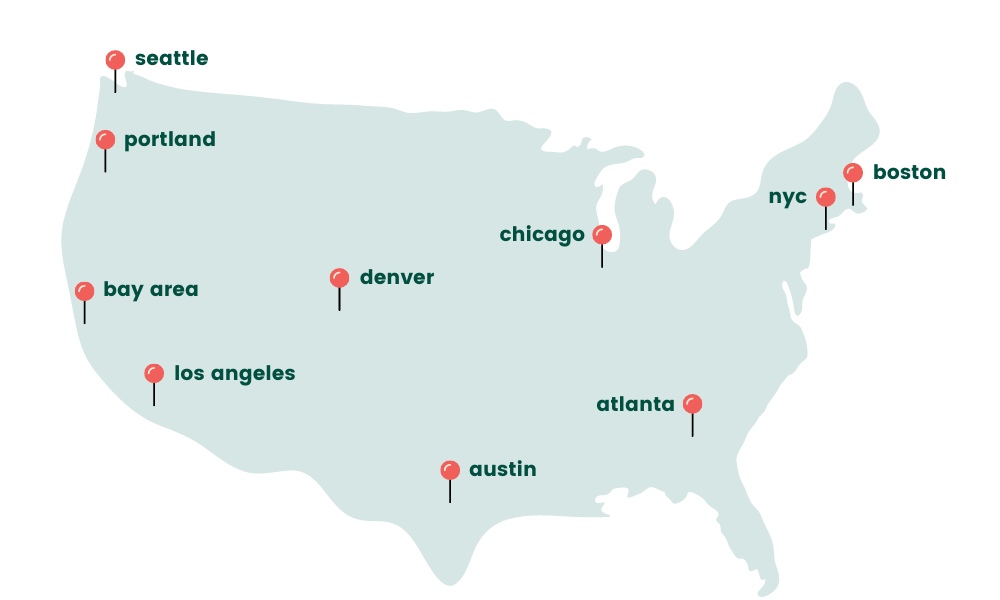 map of the United States with pins on Seattle, Portland, Bay Area, Los Angeles, Denver, Austin, Chicago, Atlanta, NYC, and Boston