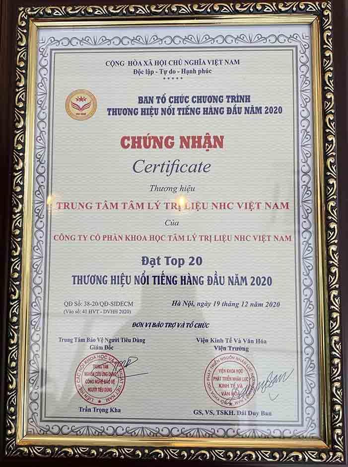 Chứng nhận Top 20 Thương hiệu nổi tiếng hàng đầu Việt Nam năm 2020