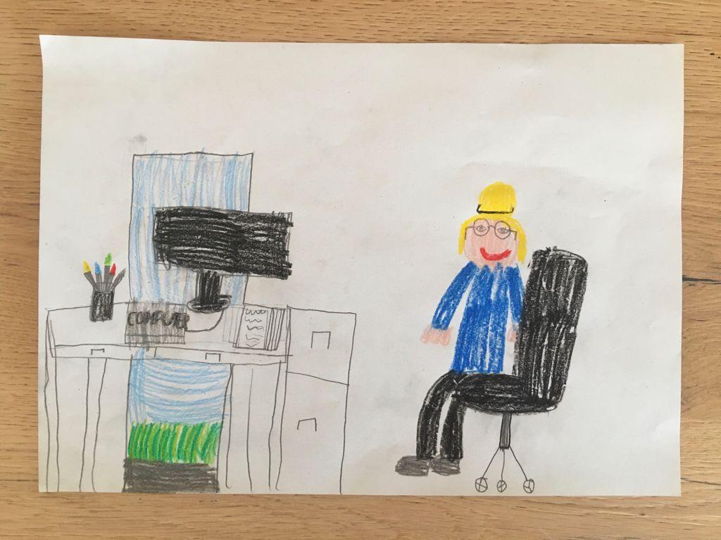 Nicola vor dem Computer, künstlerische Interpretation. Buntstift auf Papier