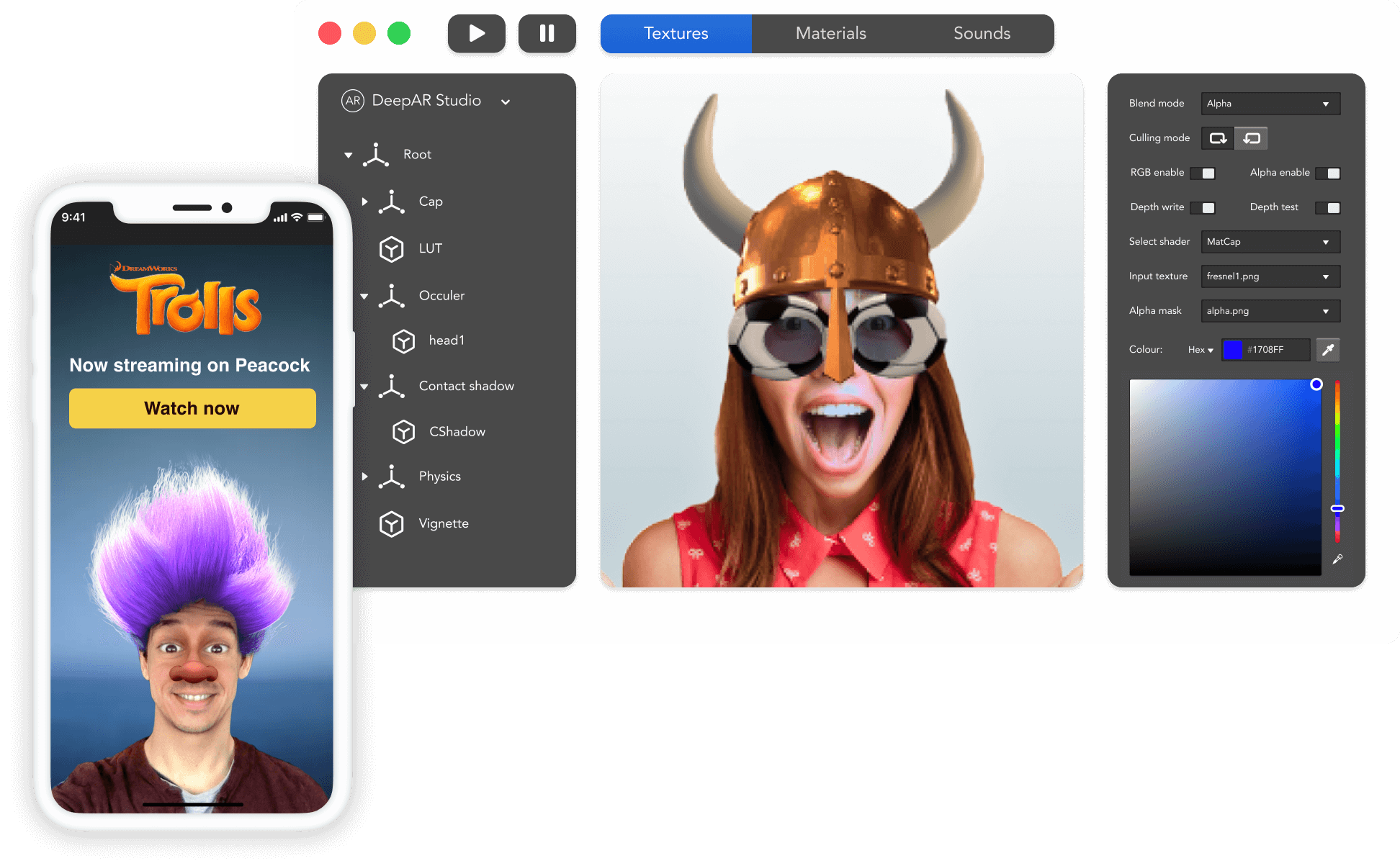 Mockups of an iPhone showing AR filters, and a browser window showing the DeepAR studio