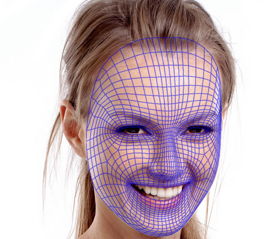 A woman with Face Filter mesh on her face. Looks itchy!