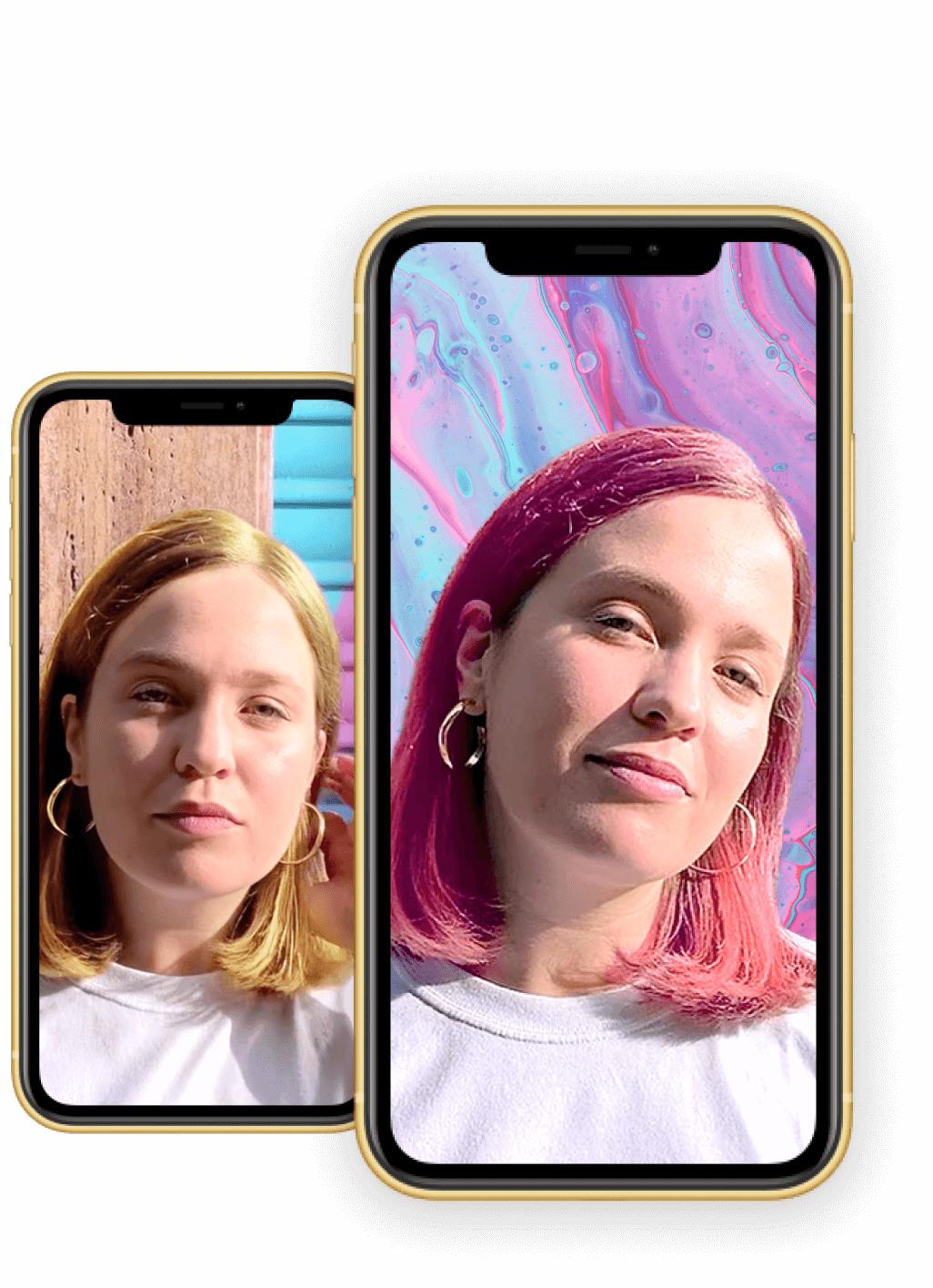Preview of two iPhones each showing a woman using our Hair Colour Segmentation filters... and loving it!