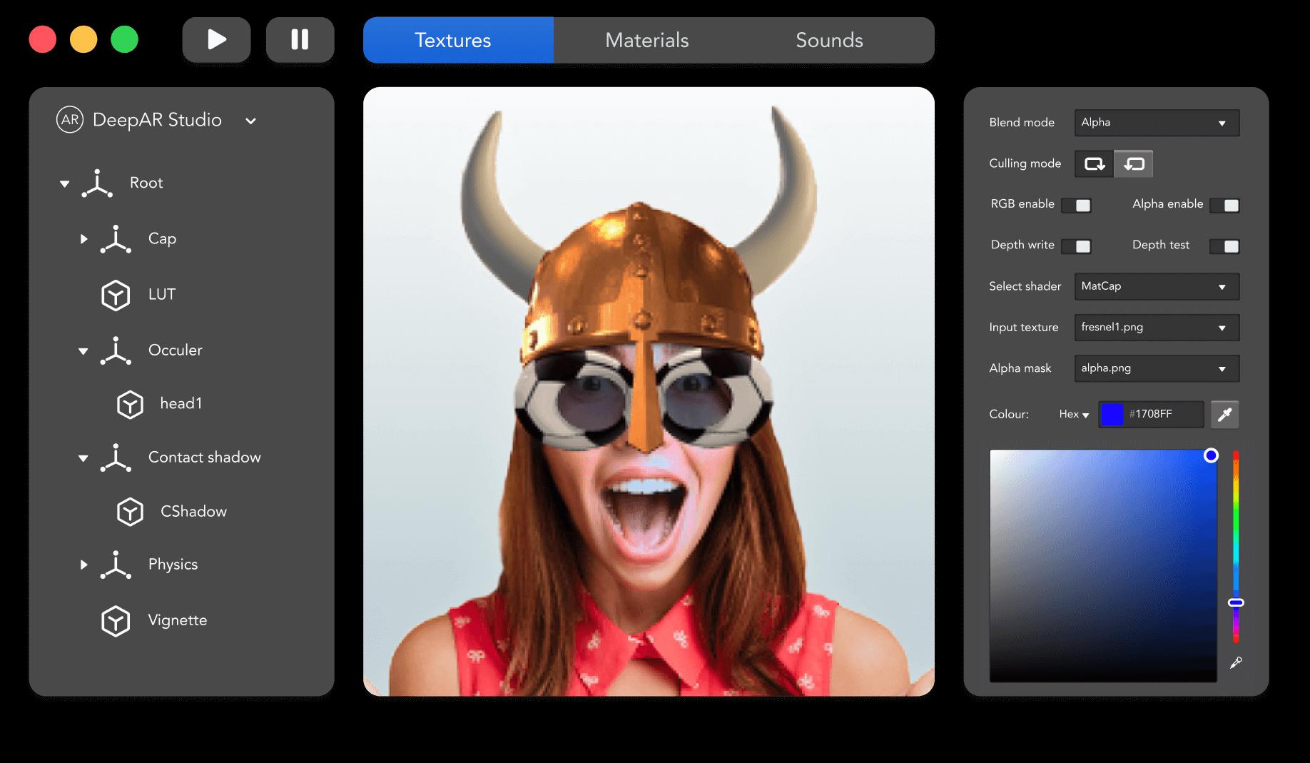 Mockup of our DeepAR Creator Studio desktop software editing a face filter of a viking hat + football glasses.