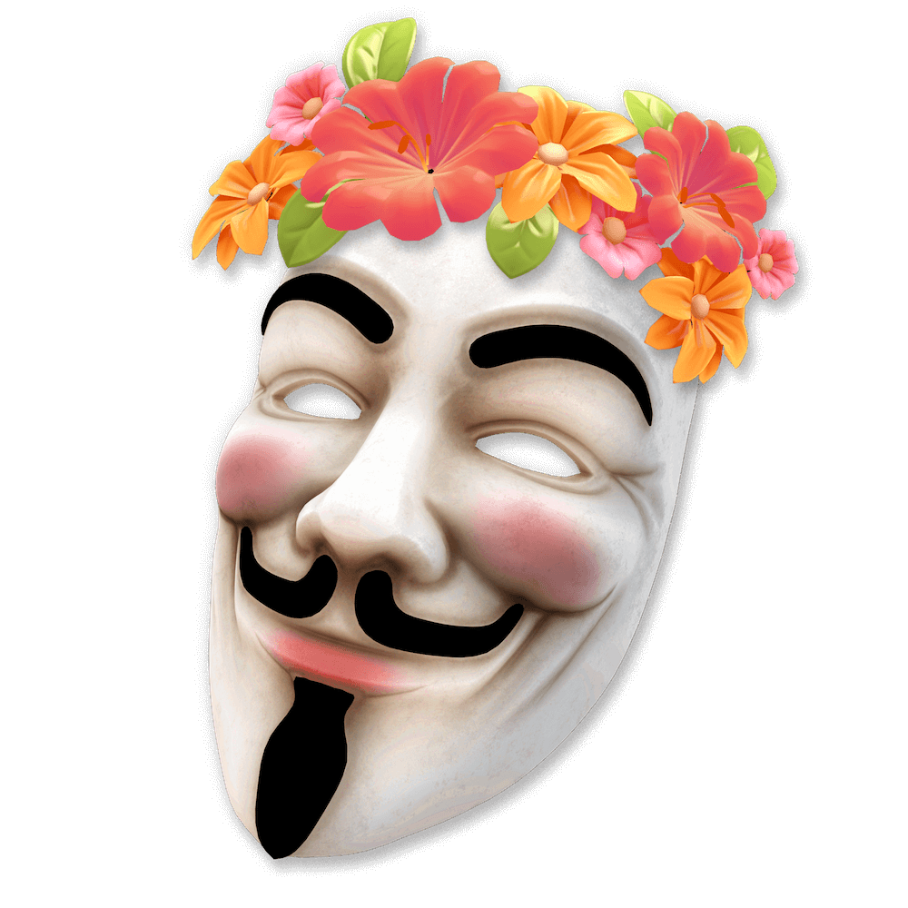 A Guy Fawkes / anon style face mask wearing Hawaiian flowers.