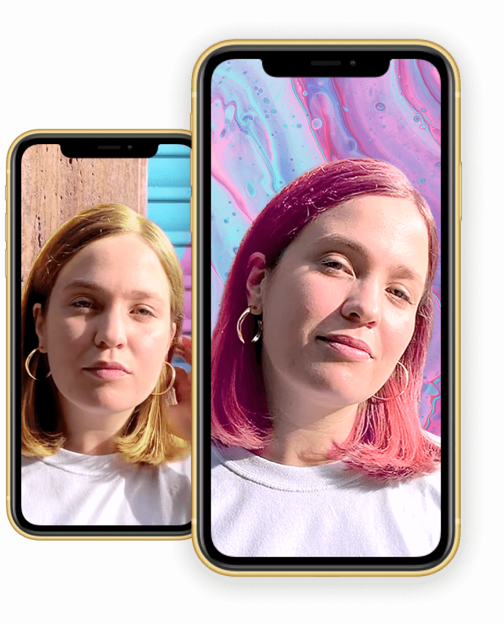iPhone mockups with hair colour changing