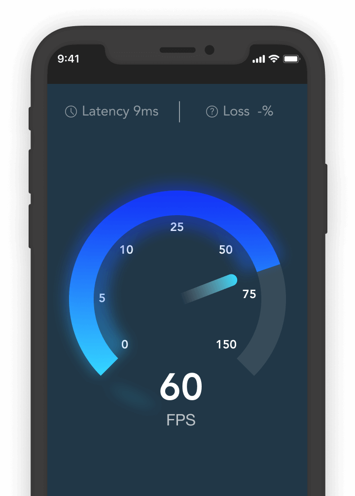 Phone showing dial with 60 FPS speed