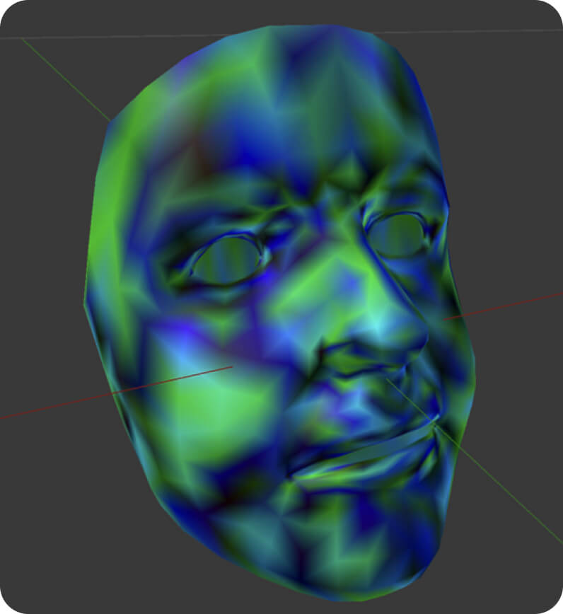Reference model vertex colour values