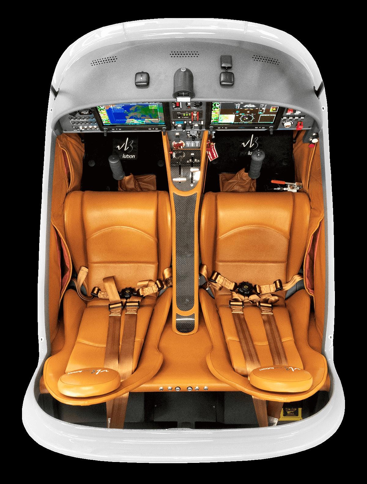 Vue de l'intérieur du cockpit d'un VL3 evolution
