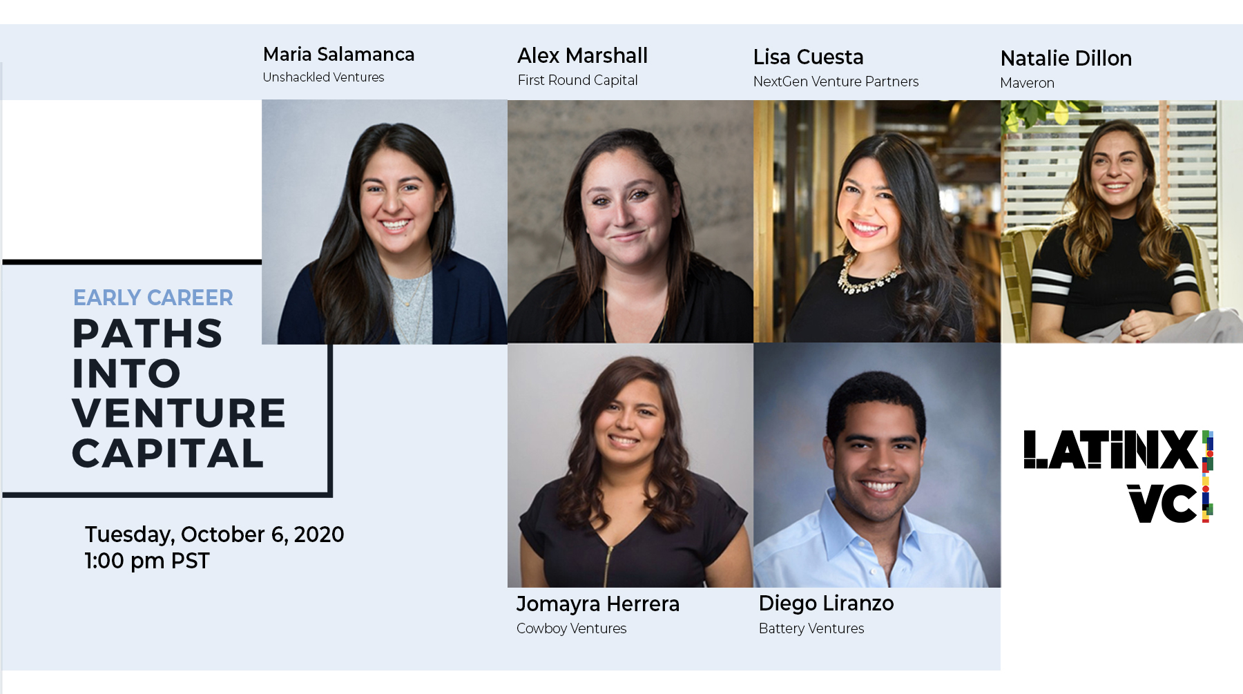 Flyer with the speakers of Paths Into Venture Capital event for October 6, 2020