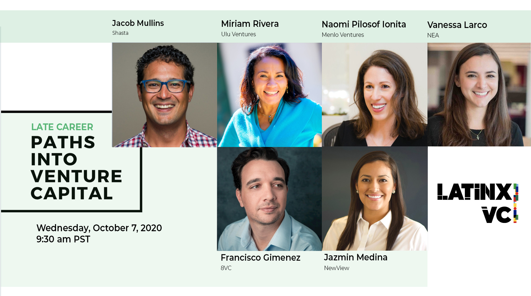 Flyer with the speakers of Paths Into Venture Capital event for October 7, 2020