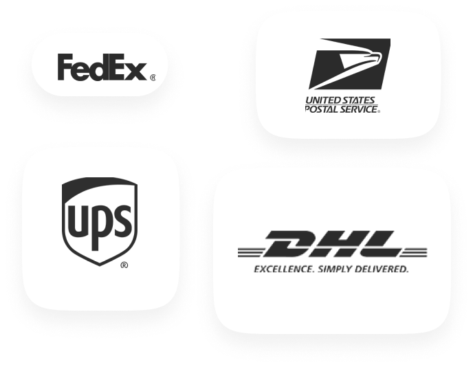 Display of company logos: FedEx, United States Postal Service, UPS and DHL