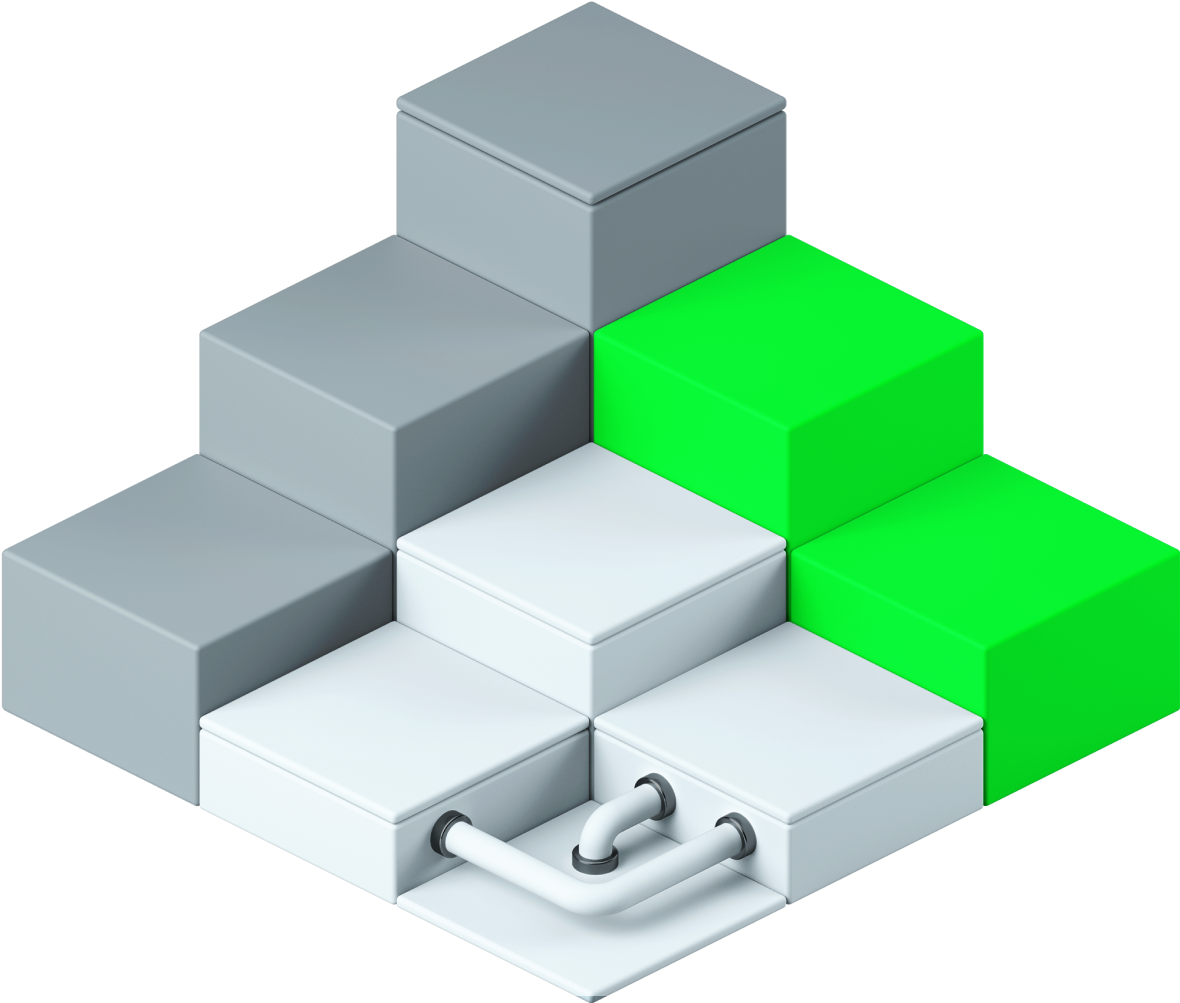 Large 3d graphic of cubes and pipes