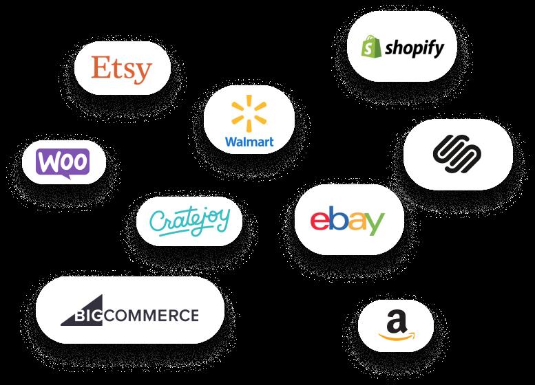 List of company logos: Etsy, Shopify, Woocommerce, Walmart, Squarespace, Cratejoy, ebay, Bigcommerce and Amazon
