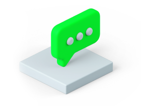3d graphic of a message chat box
