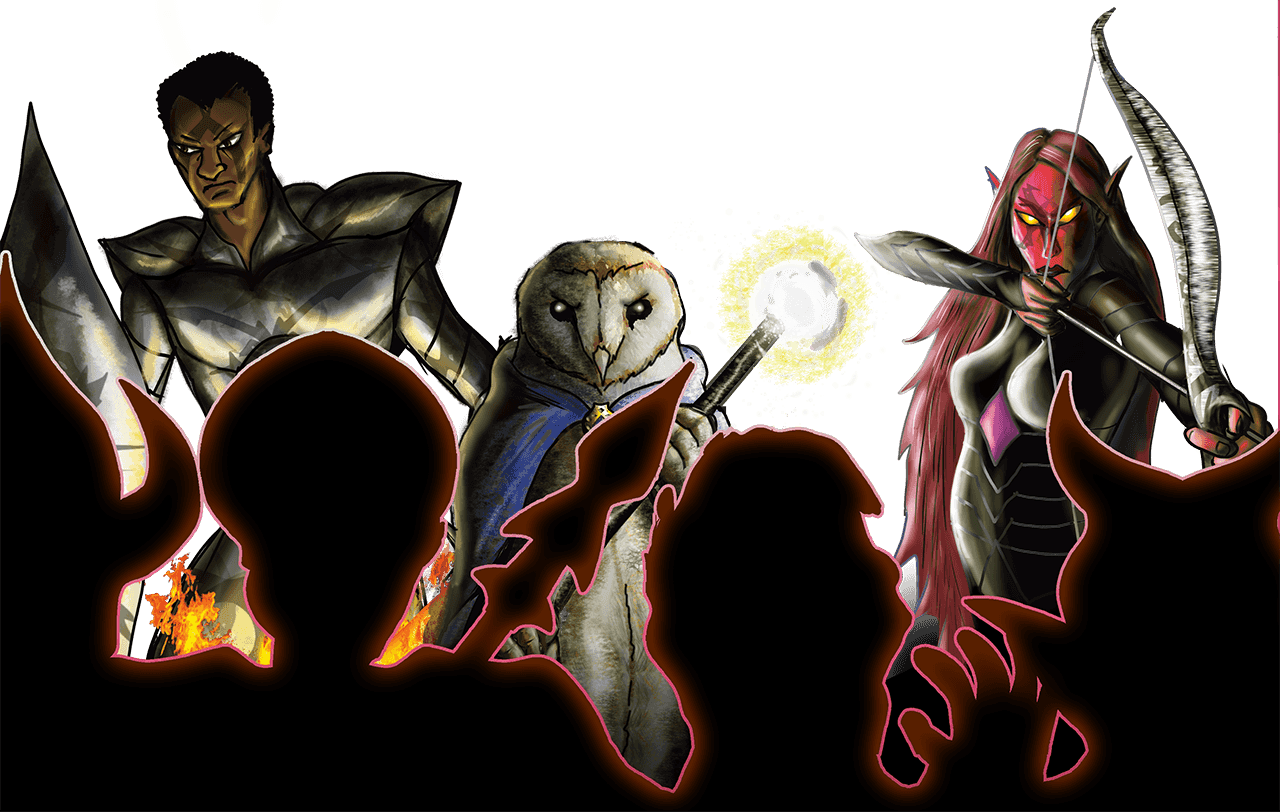 A knight, Owl-man, and a Red Elf from Multidimensional Dungeons.