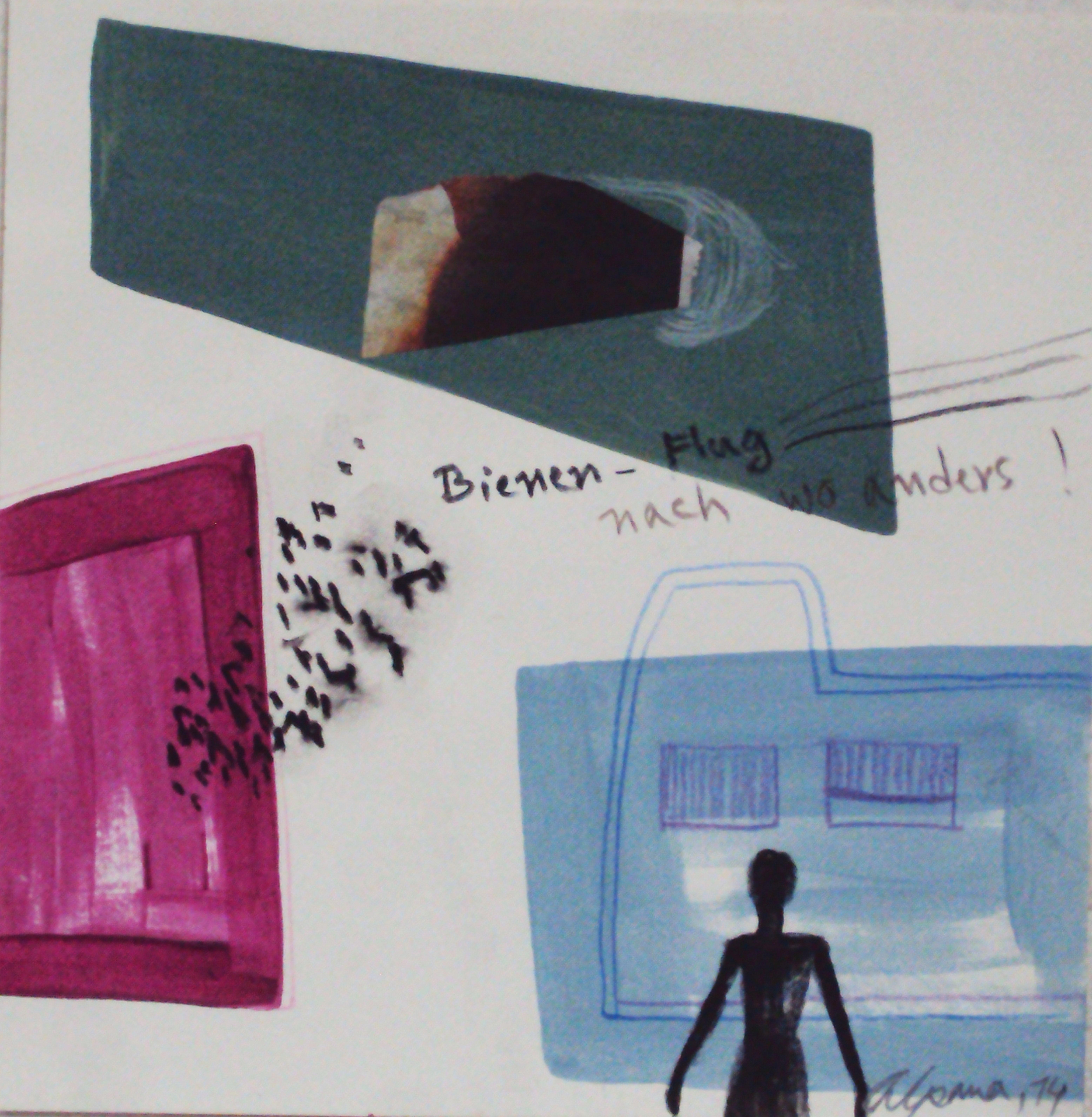 Murshida Arzu Alpana, Bienen Flug ! 2014, Mischtechnik auf Papier, 20 x 20 cm