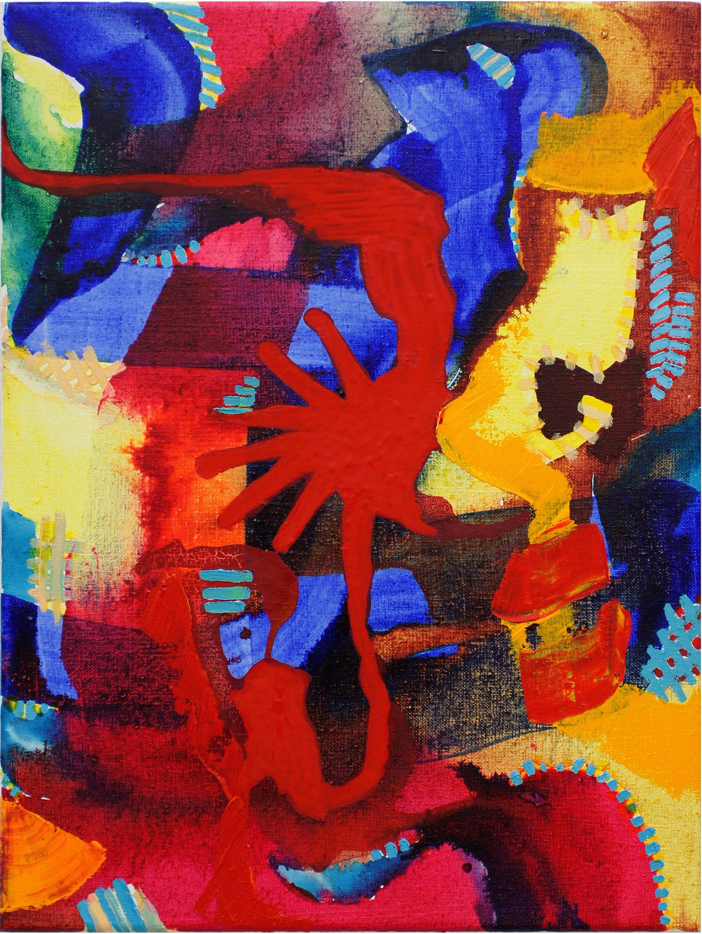 ohne Titel, 2018, Tusche und Ölfarbe auf Leinwand, 40 cm x 30 cm