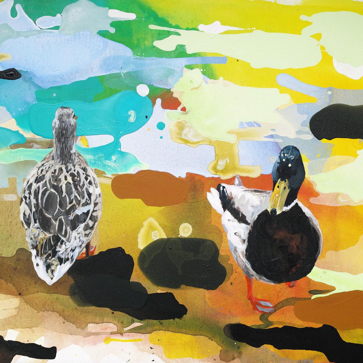 Entenpaar, 2019, Acryl auf Leinwand, 60 x 70 cm (Ausschnitt)