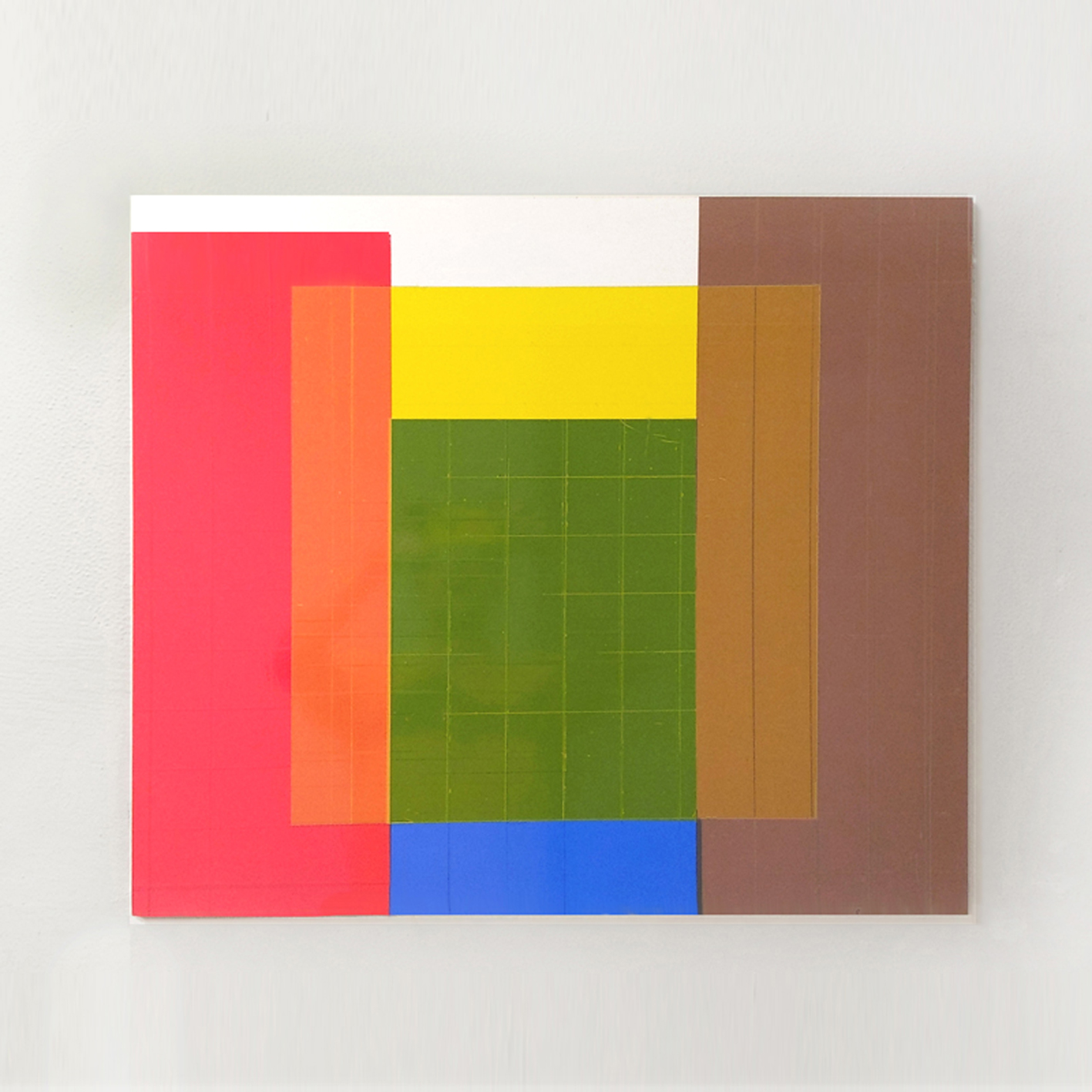 """unter Gelb"", 2020 Acryl, Tape auf Holz, 74x60x1,8cm"