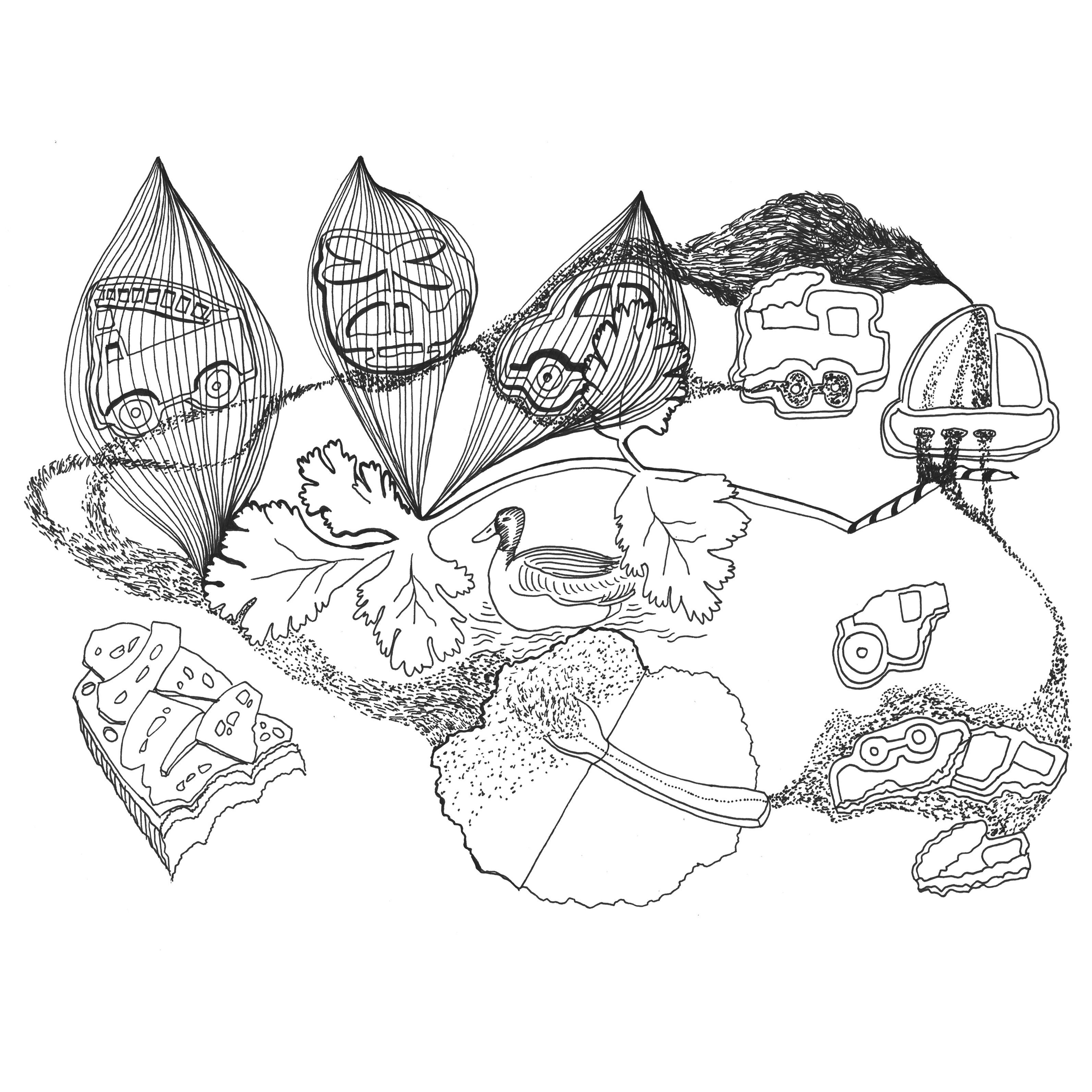 """""""Soul Kitchen"""" 2020, Zeichnung, verschiedene Dimensionen"""