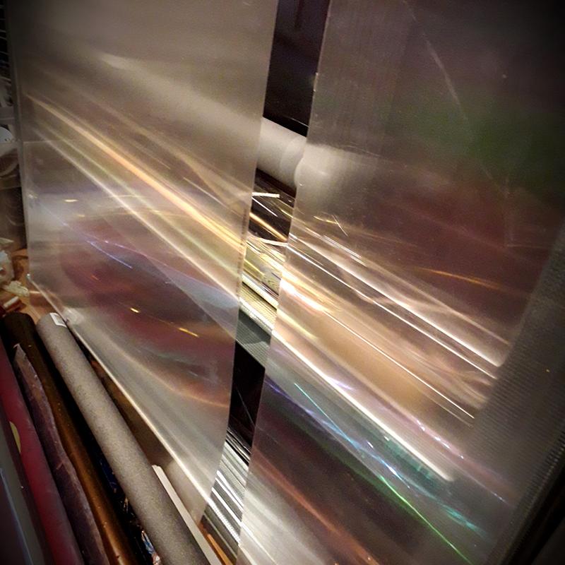 Bild: Nightlights, Acryl/Installationsrohre, Stahlprofile, Fotodruck über Autofolie, 100 x 80 x 8 cm