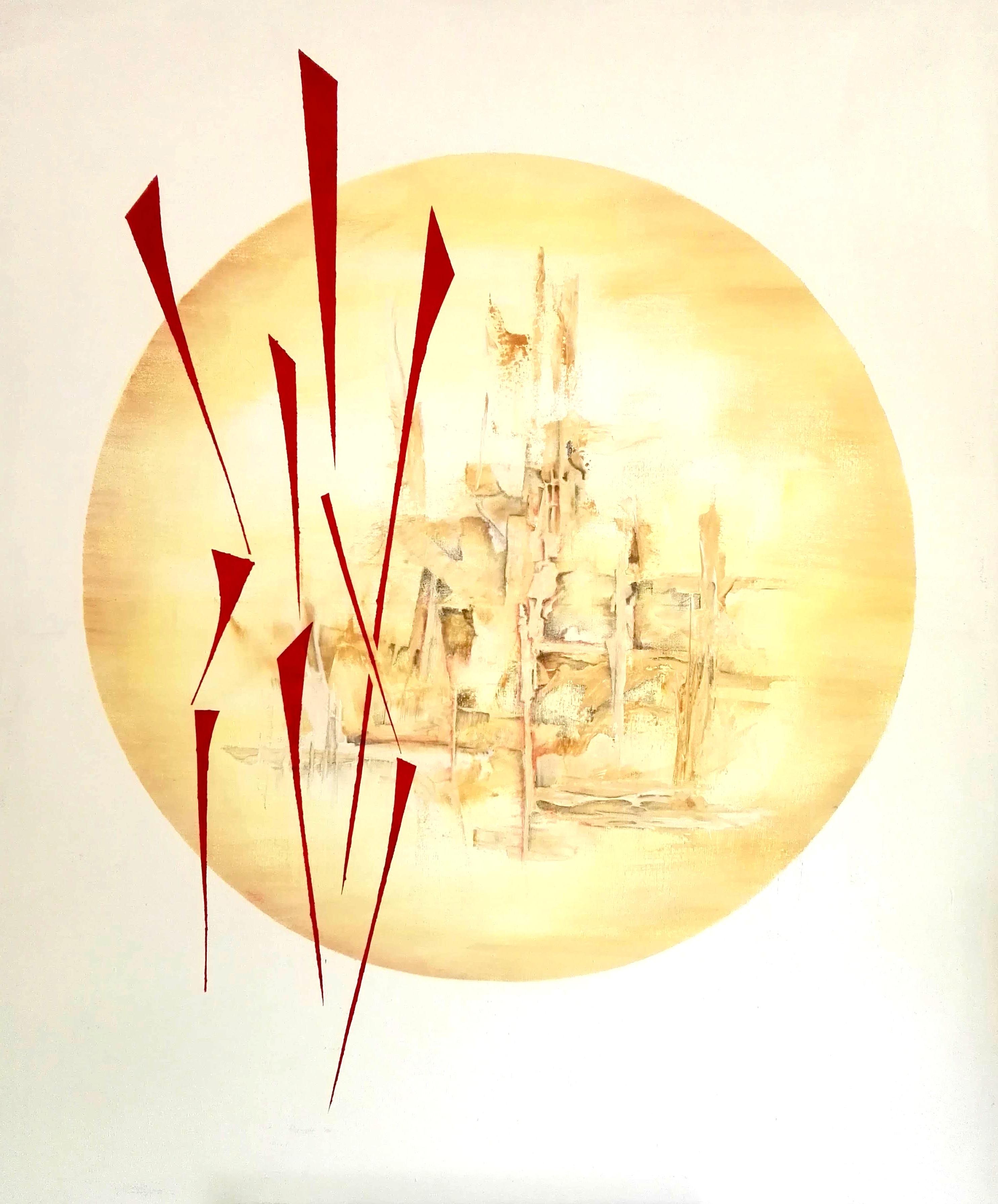"""Georg Jenisch, """"Gott und Teufel"""", 2018, Acryl und Bleistift auf Leinwand, 120x100cm"""