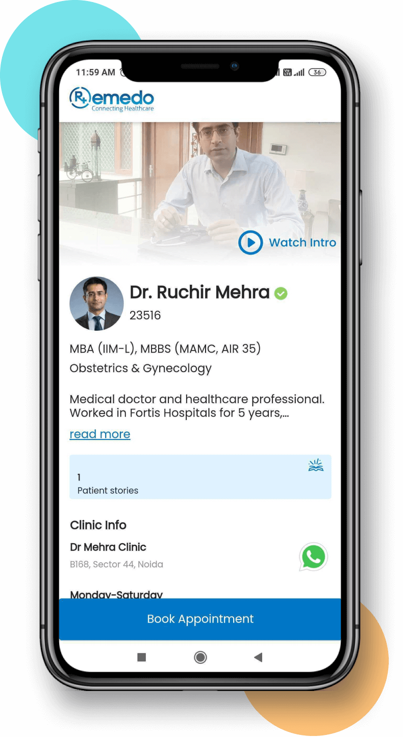 Remedo Doctor profile on a mobile phone.